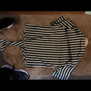 Vince Camuto Tops - Short sleeve striped blouse ties at waist